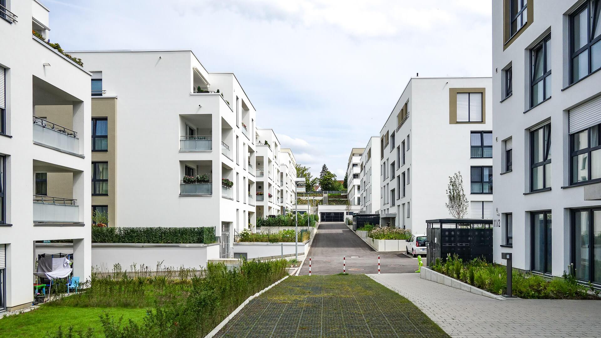 Neubau von 16 Mehrfamilienhäusern mit Tiefgarage in Leonberg