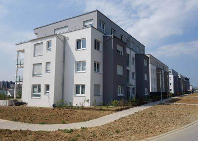 Seitenansicht, Balkonseite, Neubau Mehrfamilienhäuser in Hemmingen
