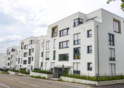 Straßenseite Neubau Mehrfamilienhäuser in Leonberg vom Architekturbüro KMR-Planer