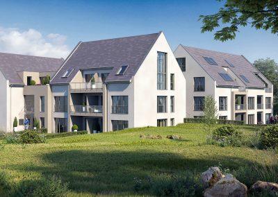 Seitenansicht Neubau Mehrfamilienhaus in Wiernsheim